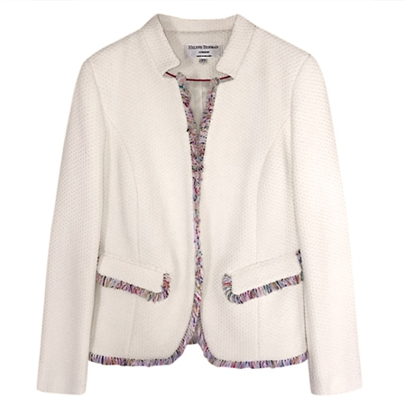 Helene Berman 100% Cotton 'Notch' Jacket - White  - Click to view a larger image