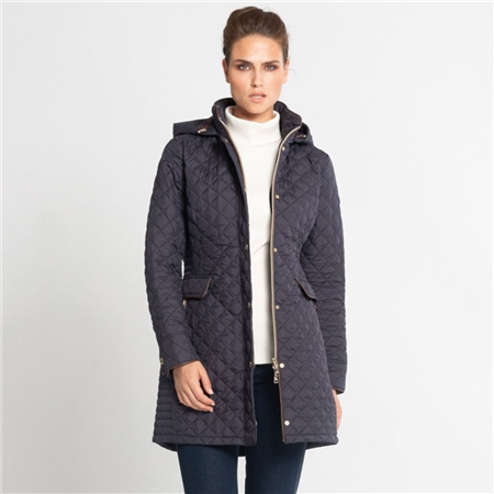 Schneiders 'Filine' Padded Coat With Check Hood - Navy  - Click to view a larger image