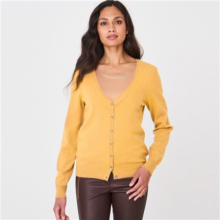 Repeat 100% Organic Cashmere Cardigan - Saffron  - Click to view a larger image