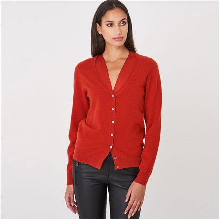 Repeat 100% Organic Cashmere Cardigan - Paprika  - Click to view a larger image