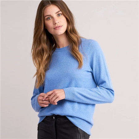 Repeat 100% Organic Cashmere Round Neck Jumper - Med Blue