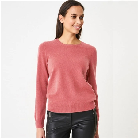 Repeat 100% Organic Cashmere Round Neck Jumper - Dusty Rose 1