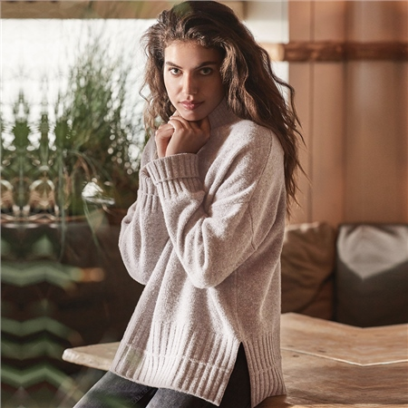 Repeat 100% Fine Wool Chunky Rib Details Jumper  - Click to view a larger image