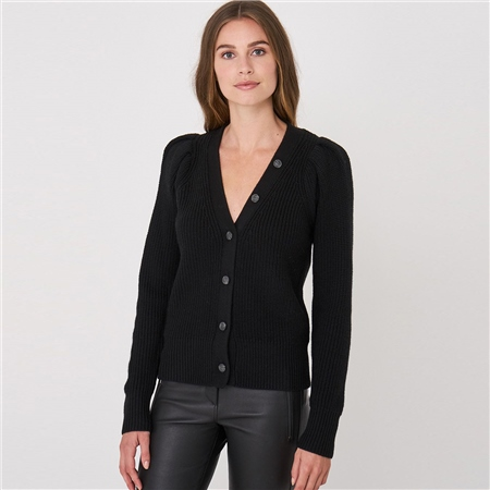 Repeat Ruched Shoulder 100% Wool Cardigan - Black