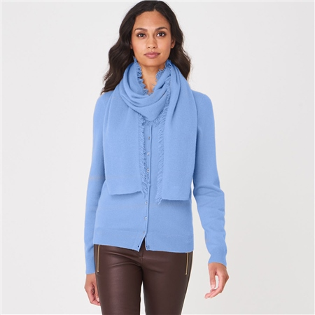 Repeat 100% Organic Cashmere Scarf - Med Blue  - Click to view a larger image