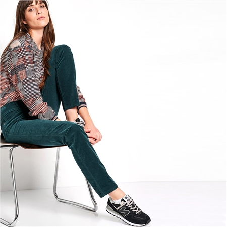 Toni 'Be Loved' Slim Fit Cord Trousers - Dark Green