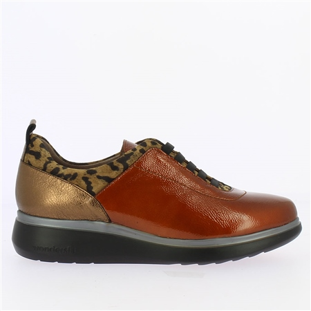 Wonders Animal Print Detail Patent Slip-On Trainers - Cognac  - Click to view a larger image