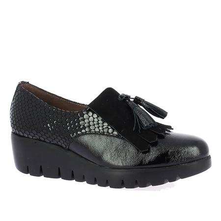 Wonders Patent Croc Wedged Loafers - Black