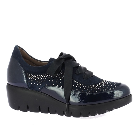 Wonders Ribbon Lace-Up Embellished Wedged Shoes - Night Blue 1