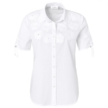Just White 100% Cotton Embroidered Floral Blouse