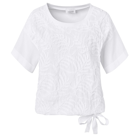 Just White Cotton Mix Tie Detail Embroidered Blouse