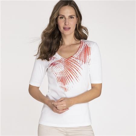 Olsen 100% Cotton Embellished Botanical Motif T-Shirt  - Click to view a larger image