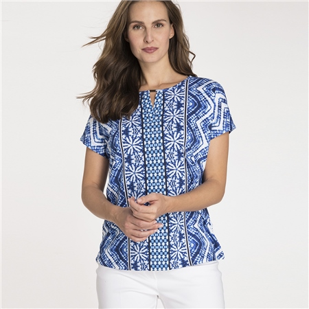 Olsen 100% Cotton Multi Print T-Shirt  - Click to view a larger image