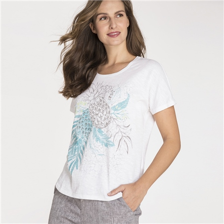 Olsen 100% Cotton Embellished Pineapple Print T-Shirt  - Click to view a larger image