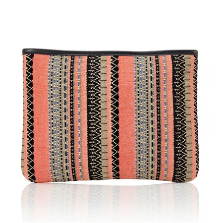 Hill & How Jacquard Beach Pouch - Coral  - Click to view a larger image