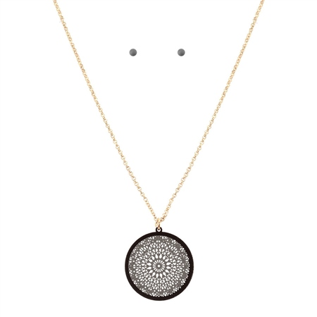 Hill & How Delicate Lace Filigree Round Necklace Set - Grey