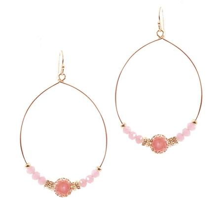Hill & How Gemstone Hoop Earrings - Pink