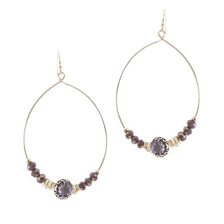 Hill & How Gemstone Hoop Earrings - Purple