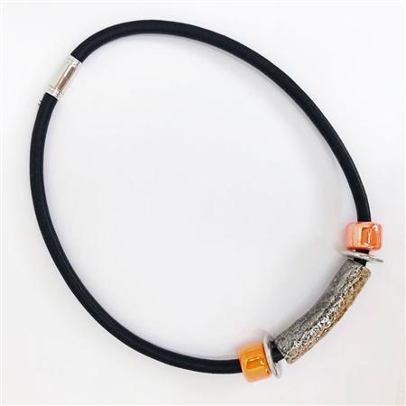Etnika Handmade Rubber Cord Magnetic Necklace - Orange