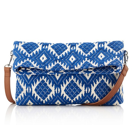 Hill & How Jacquard Aztec Crossbody/Clutch Bag - Blue  - Click to view a larger image