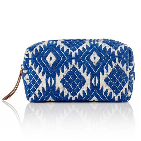 Hill & How Jacquard Aztec Make-Up Bag - Blue