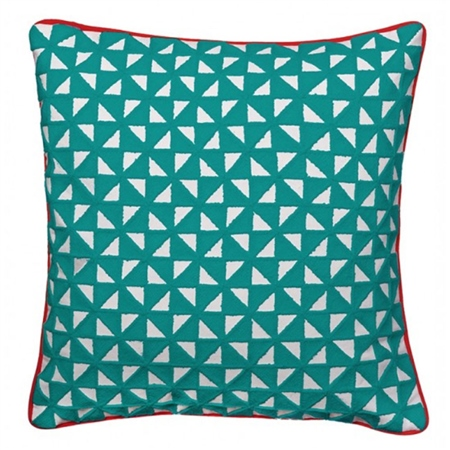 Bombay Duck Kites Square Cushion With Piping - Teal  - Click to view a larger image