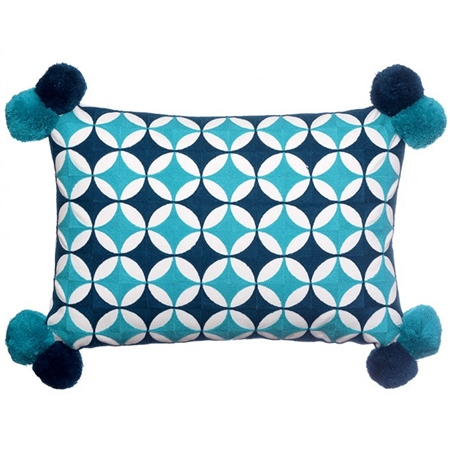 Bombay Duck Fez Circles Rectangle Cushion With Pompoms - Teal  - Click to view a larger image