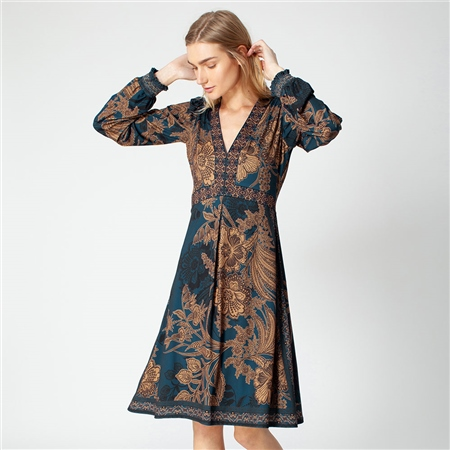 Hale Bob 'Cassandra' Floral Print Dress - Teal  - Click to view a larger image