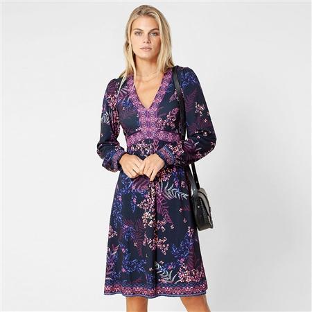 Hale Bob 'Cassandra' Floral Print Dress - Berry