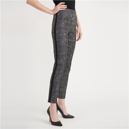 Joseph Ribkoff Cotton Mix Floral Check Trousers  - Click to view a larger image