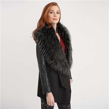 Joseph Ribkoff Faux Fur Collar Edge To Edge Coat  - Click to view a larger image