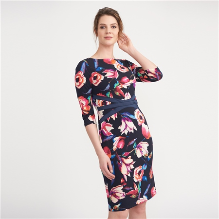 Joseph Ribkoff Floral Print Waist Detail Dress  - Click to view a larger image