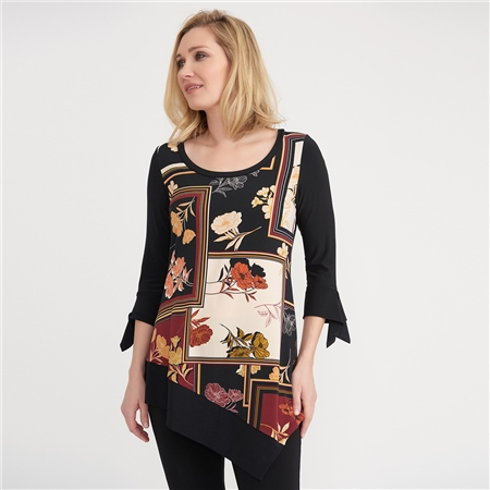 Joseph Ribkoff Floral Squares Print Tunic  - Click to view a larger image