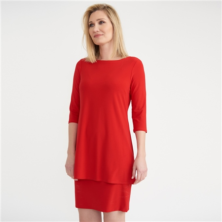 Joseph Ribkoff Layered Dress - Lipstick Red  - Click to view a larger image