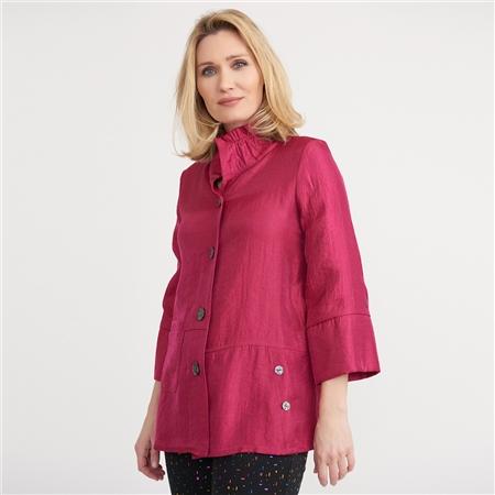 Joseph Ribkoff Ruffle Collar Shimmer Jacket  - Click to view a larger image