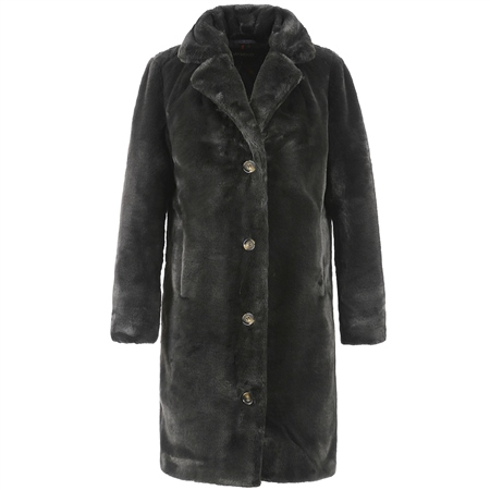Oakwood 'Cyber' Teddy Fur Coat - Dark Grey  - Click to view a larger image