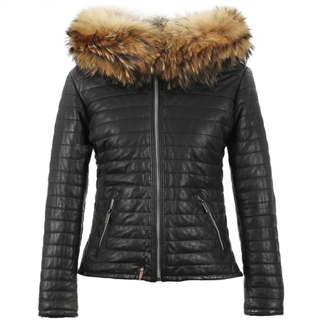 Oakwood 'Happy' Fur Hood Padded Leather Coat - Black  - Click to view a larger image