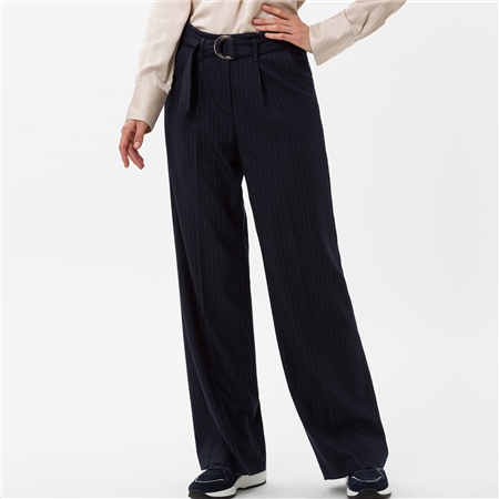 Brax 'Maine' Pinstripe Wide Leg Trousers  - Click to view a larger image
