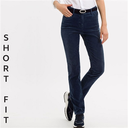 Brax 'Mary' Short Fit Cord Trousers - Blue