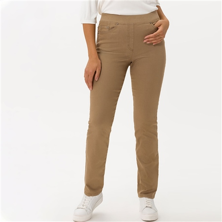 Brax 'Pamina' Pull-On Cotton Trousers - Camel 1
