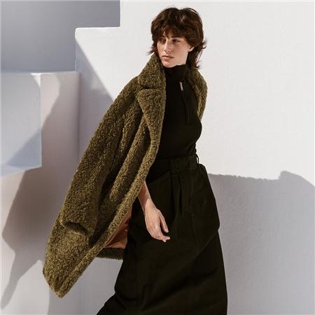 B&L 'Rita' Teddy Fur Coat - Khaki  - Click to view a larger image