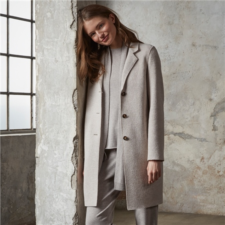 Oui Virgin Wool Longline Coat - Stone  - Click to view a larger image