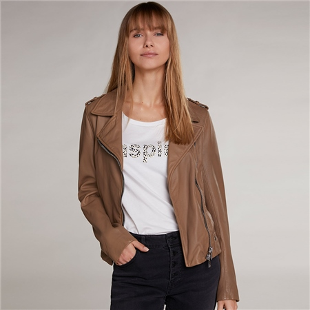 Oui Leather Biker Jacket - Light Brown  - Click to view a larger image