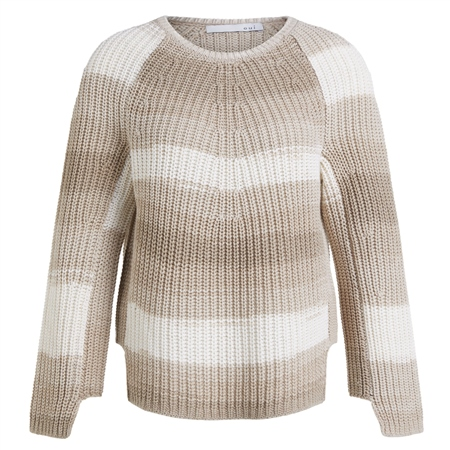 Oui Cotton Blend Chunky Knitted Stripe Jumper - Stone  - Click to view a larger image