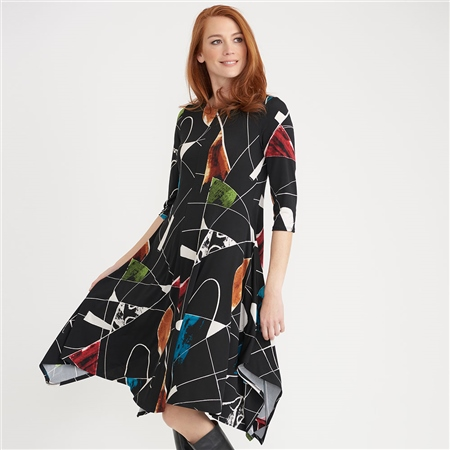 Joseph Ribkoff Abstract Print Flared Dress - Multi  - Click to view a larger image