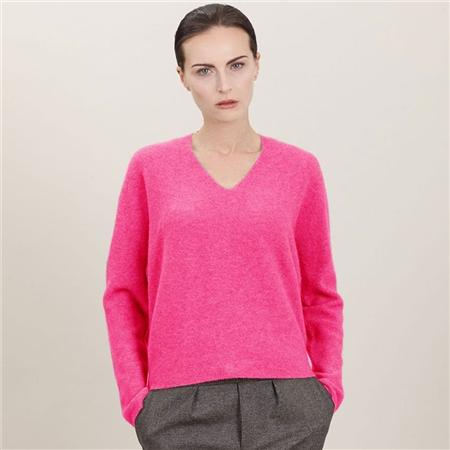 Estheme Cashmere 100% Cashmere Classic V-Neck Jumper - Flamingo
