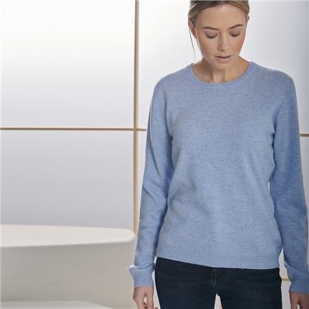 Brodie 'Rolo' 100% Cashmere Round Neck Jumper - Arctic Blue