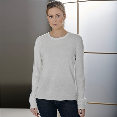 Brodie 'Rolo' 100% Cashmere Round Neck Jumper - Organic White  - Click to view a larger image