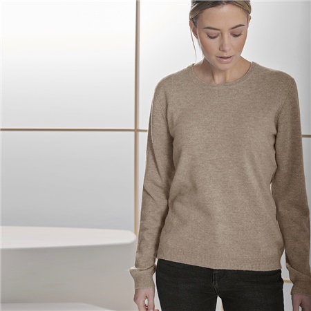 Brodie 'Rolo' 100% Cashmere Round Neck Jumper - Otter  - Click to view a larger image