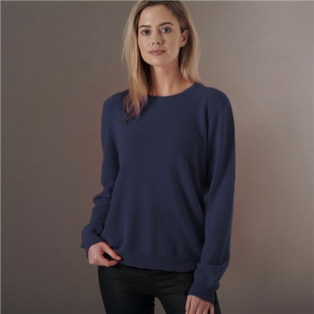 Brodie 'Rolo' 100% Cashmere Round Neck Jumper - Oxford Blue  - Click to view a larger image